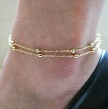 Allure Tags - Sweet Gold Plated Double Chain Bead Anklet Ankle Foot jewellery