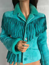 Rare Auth. RALPH LAUREN Purple Label Turquoise Shearling Jacket Coat sz 8