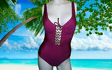 NWT GOTTEX PASSION Pink Cimaron Gold Sequins RUCHED SWIMSUIT BATHING SUIT sz- 8