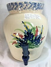 American Pottery Marshall TX. Hand Turned Signed & Dated Spongeware Blue Bonnets