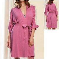 Rosie Autograph 8 10 12 14 16 Lace Trim Wrap Dressing Gown Pink Cream M&S New