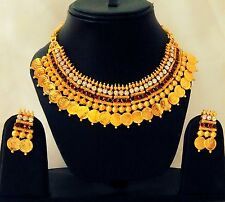 Indian Traditional Ginni Golden color Set Necklace and Earrings Gold Plated Set.