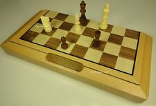 "FOLDING TRAVEL 16"" STAUNTON WOOD CHESS SET W/ HANDLE - STORAGE BOARD"