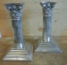 MAPPIN & WEBB Corinthiam Column Solid Silver Candlesticks Pair Sheffield 1896 6""