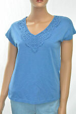 New Elementz Women's Blue Cap Sleeve Crochet Embroidered V-Neck Tee Blouse Top S