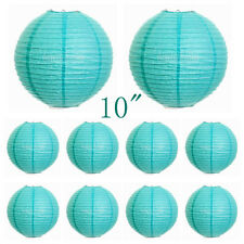 "10Pcs 25cm/10"" Tiffany Blue Chinese Lampshades Paper Lantern Wedding Party Decor"