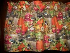 Fall Apples Pumpkins Sunflowers Birds fabric kitchen curtain window Valance