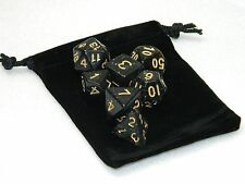 Wiz Dice 7 Die Polyhedral Set Stardust Black Sparkle RPG DnD Dice With Dice Bag