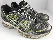 Men's ASICS GEL-NIMBUS 12 Running Shoes Size 12 T045N Gray Green White