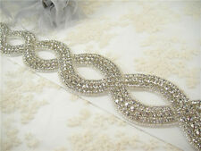 Gorgeous Diamante Crystal Bridal Applique Trim Beaded Motif Wedding Applique