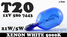 580 7443 21/5W T20 XENON White 12V Glass Car Head Light Lamp Globes Bulbs!