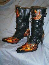 New Rock 9591 Black High Heeled Boots w/ Red Flames UK 7 / EU 41