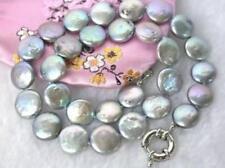 Schöne 13-14mm grau Münze Japanische Akoya Perlenkette 45cm