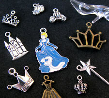 11pcs Disney Cinderella Princess Pendant Charm GLASS SLIPPER Silver Bead Enamel