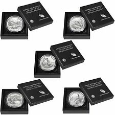2014 P SILVER ATB COMPLETE SET 5 OZ OUNCE ARCHES, SAND DUNES, EVERGLADES & MORE