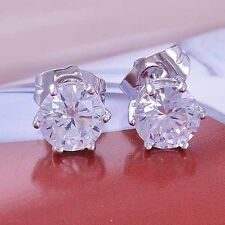 Womens White Gold Plated Clear CZ flower Cute Girls small Stud Earrings LOT
