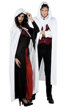 MENS LADIES LONG WHITE HOODED CAPE HALLOWEEN FANCY DRESS WIZARD ASSASSIN CLOAK