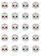 20 Colorful SUGAR SKULL Assortment Water Slide Nail  Decals Skull Nail Decals