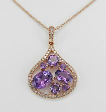 "14K Pink Rose Gold Diamond and Amethyst Cluster Halo Pendant Necklace 18"" Chain"