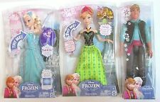 DISNEY FROZEN SINGING Elsa & Anna + Kristoff Lot of 3 Dolls NIB 2015 Free Ship