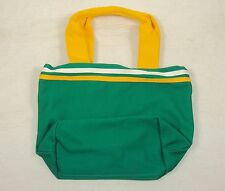 Canvas Mini Tote For Girls 100% Cotton, Kelly Green w/Gold & White Accent ~ G802