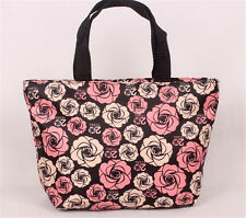 Pink roses Clutch Women's waterproof tote shopping bag handbag makeup lunch bag