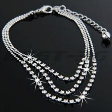 Sparkly Crystal 3 Rows Rhinestone Anklet Chain Anklet Bracelet Foot Jewelry