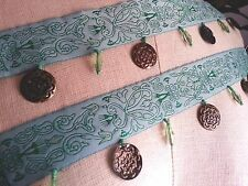 "2"" BROCADE Band BELLY DANCE Bead & Coin style Fringe Trim BTY - GREEN"