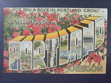 Greetings From Portland Oregon OR Large Letter Linen Postcard 1943 Vintage VTG