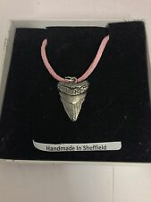 Prehistoric Shark's Tooth STP Pewter Pendant on a Pink Cord Necklace