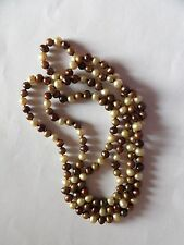 SHADES OF BROWN DYED NATURAL PEARL LONG STRING / STRAND / NECKLACE   A17