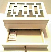Small Mirror and Rectangular Design Top Wooden Jewelry Box New White Finish