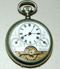 Antique Working Hebdomas Swiss Made 8 Day Calendar Visible Balance Pocket Watch