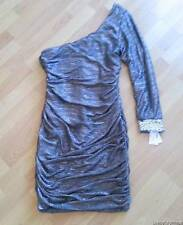 HOT HOT! ~NEW NWT Size PLUS 1X ~ Metallic Pewter Cold One Shoulder Club Dress XL