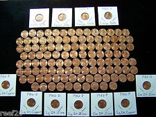 1959-2016 BU LINCOLN CENT SET - 133+ COINS ** 7- 1982's & 1960 P+D Small Dates**