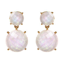 NWT Amrita Singh Gold Verve Moonstone Resin Statement Earrings ERC 9927