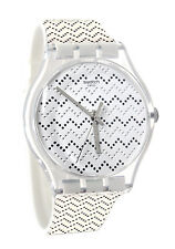 Swatch SUOK118 Wavey Dots Dial White Grey Silicone Rubber Band Women Watch New