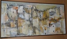Mid Century Gino Hollander Semi Abstract Painting of Village Dated May 1968