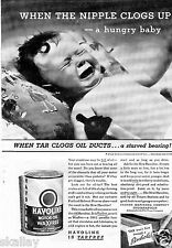 1935 Print Ad of Indian Refining Co Havoline Motor Oil Hungry Baby