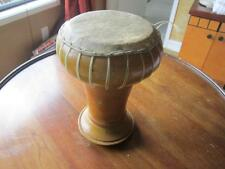 VINTAGE DARBUKA DOUMBEK TOMTOM DRUM- Wood Base- Hand made