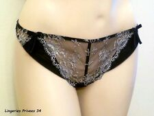 "CHANTAL THOMASS TANGA Noir & Argent ""Secret Alcove"" M/FR40/EU38/US8/UK12/ITALY3"