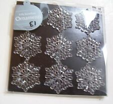 CLEAR SNOWFLAKE 2.5 INCH SHATTER RESISTANT ORNAMENT TREE DECORATIONS CHRISTMAS