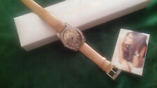 Melania Trump Gold tone watch/gold leather band CZ stones on case and face-   82