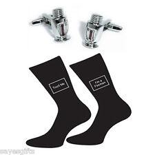 Pair of Trust Me I'm a Fireman Socks & Fire Sprinkler Head Cufflinks