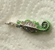 GREEN & SILVER CHAMELEON WITH GREEN RHINESTONE CLIP ON CHARM- 925 SILVER PLATE