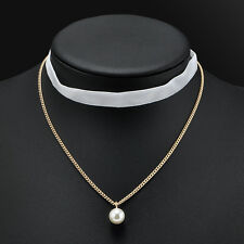 Charm Velvet Chain Pearl Pendant Choker Collar Necklace Retro Gothic Jewelry
