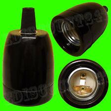 CE Certified ES E27 LAMPADA PORCELLANA titolare nero + Cavo Grip TERRARIO UK venditore.