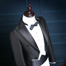 Mens Peak Lapel Morning Suits Black Formal Wedding Tuxedos With White Waistcoat