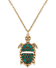 LUCKY BRAND Green Jade Stone Flex Turtle Pendant Gold-Tone Long Necklace $49