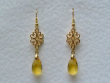 LACY FILIGREE VICTORIAN STYLE YELLOW GLASS CRYSTAL GOLD PLATED EARRINGS